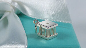 47cc35cc8dcee Details about Tiffany & Co Diamond Atlas Cube Pendant Charm Roman Numerals  Sterling Silver 925
