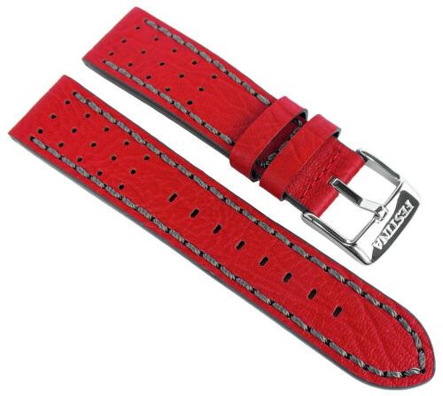 Festina Ersatzband 22mm Leder rot Lochmuster graue Naht F20377 F20377//5
