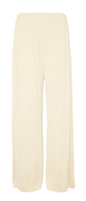 b7b616cbb61dd Ladies Plus Size Palazzo Trousers Womens Flared Wide Leg Paints 8-16 Cream  UK 16-18. About this product. Picture 1 of 2  Picture 2 of 2. Picture 2 of 2