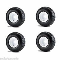 Golf Cart 18x8.50-8 6 Ply Traction Tires Mounted On 8 White Wheels Set Of 4