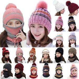 Women Winter Beanie Hat / Scarf / Mask Set Ladies Outdoor Warm Pom Pom Ski Hat