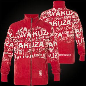 Details zu YAKUZA Jacke Allover Label Zipper ZB 10032 Ribbon Red Rot Jacken