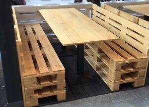 Panche in legno 120x50 h 45 con pallet bancali eur epal for Arredamento bancali di legno
