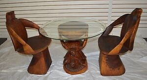 Coffee Table (Turtles) w/ Glass & 2 Chairs Hand Crafted Custom Teak Wood Natural