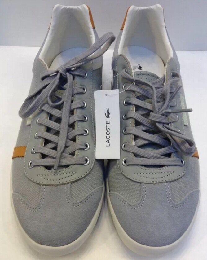Scarpe casual da uomo  Lacoste Brendel 3 SRM Grey Canvas Leather Sneakers uomo 11 NIB New 7-27SRM2310GY2
