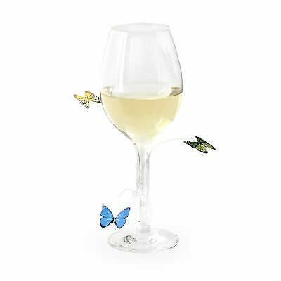 Kikkerland Butterfly Wine Glass & Drink Markers / Charms - Set of 12