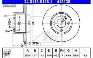 2x-ATE-Discos-de-freno-delanteros-Pleno-255mm-24-0113-0138-1