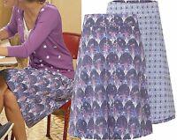 New White Stuff 8 - 14 Reversible Purple Leaf Floral Blue Cotton A line Skirt