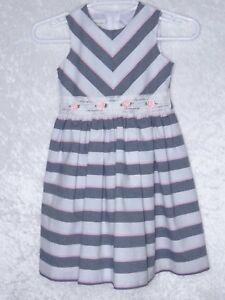 1445a2866 Bonnie Jean Kids Girls size 6 Dress Stripe Roses Fit Flare White ...