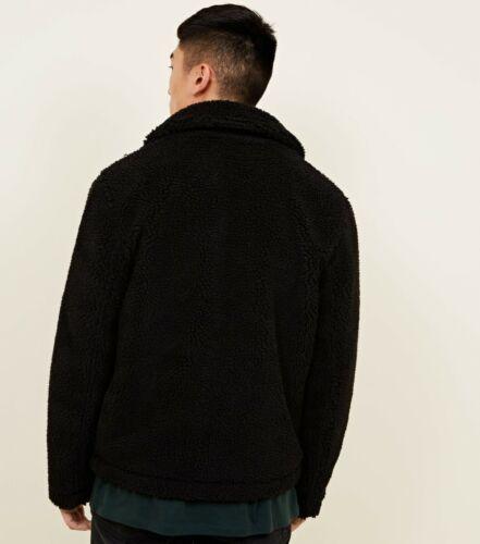 Da Uomo Nuovo LOOK Nero Teddy Borg con Colletto Con Cerniera Giacca Invernale a molla UK XS L XL