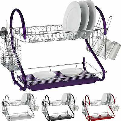 2 Tier Chrome Dish Drainer With Plates Rack Glass Holder