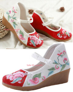 Women-Chinese-Handmade-Embroidered-Casual-Flower-Cloth-Shoes-Flat-Mary-Jane-Shoe