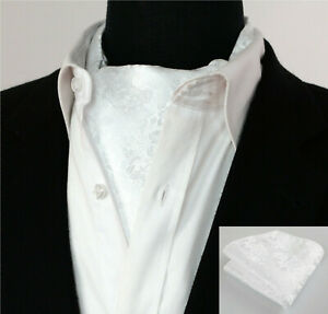 Luxury-Pure-White-Floral-Cravat-NEW-Paisley-Silk-Scarf-Ascot-Tie-FREE-Hanky