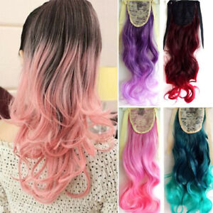 Girls-Ombre-Mix-Color-Long-Curly-Wavy-Clip-in-Ponytail-Hair-Extension-Hairpiece