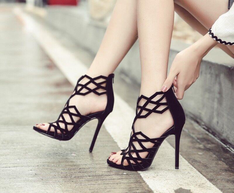 Europe Womens Sexy Nightclub Party Stilettos Hallow Out High Heel shoes Black SZ