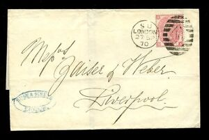 GB QV 1870 3d ROSE Pl.5 FU on WRAPPER LONDON to LIVERPOOL SUSE + SIBETH AGENTS
