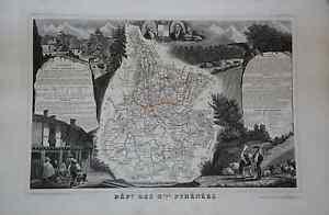 Grande-carte-France-1852-ATLAS-LEVASSEUR-Combette-Departement-65-HAUTES-PYRENEES
