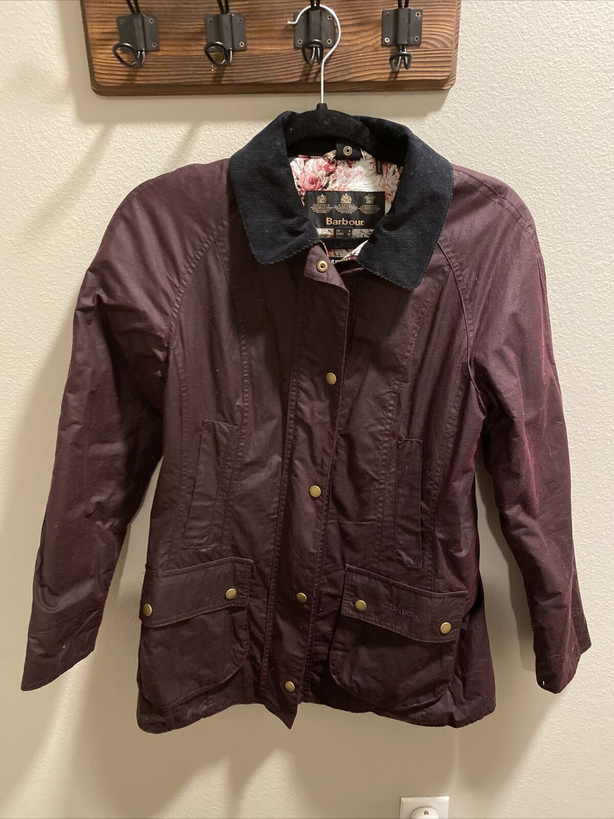 Women's Barbour Wax Jacket - USA Size 4 - Maroon - image 1