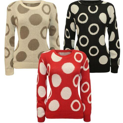 New Ladies Polka Dot Print Winter Knit wear Sweat Shirt Jumper Tops 8-14