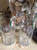 Italian Hand Made Crystal Drinking Glasses Rhinestone Medallion Set Of 2