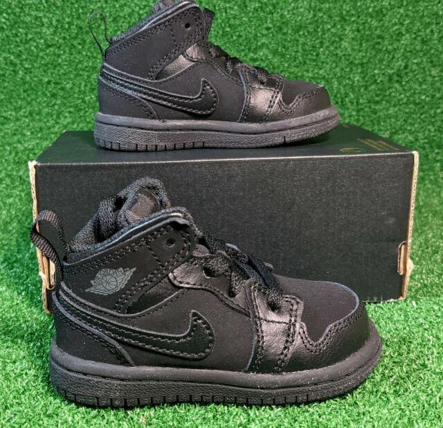 Air Jordan Infant Shoes Size 9c Retro 1 Mid Toddler Black 640735-050