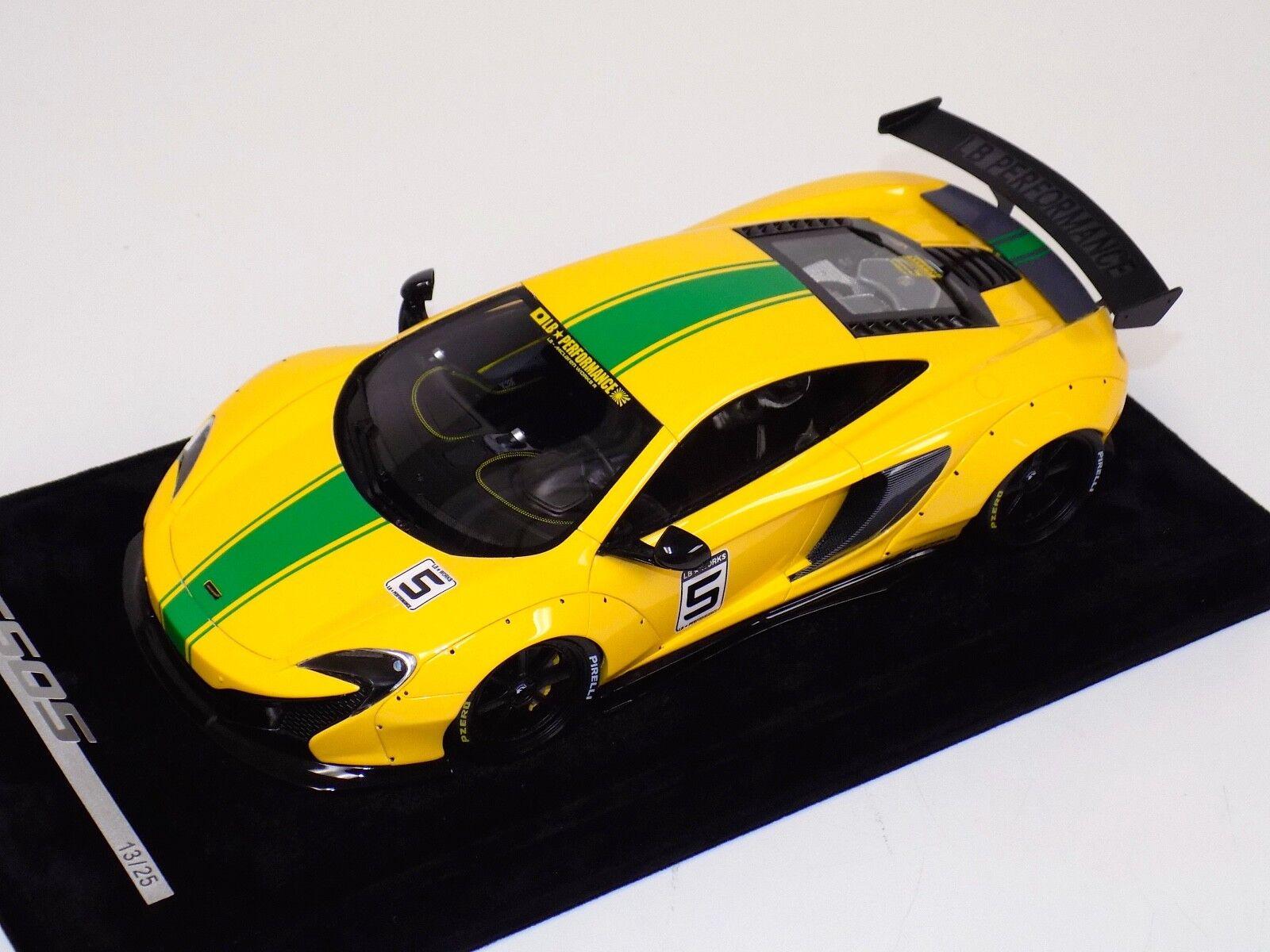 1 18 AB Models McLaren 650 S LB Performance Liberty walk Yellow Green Stripe