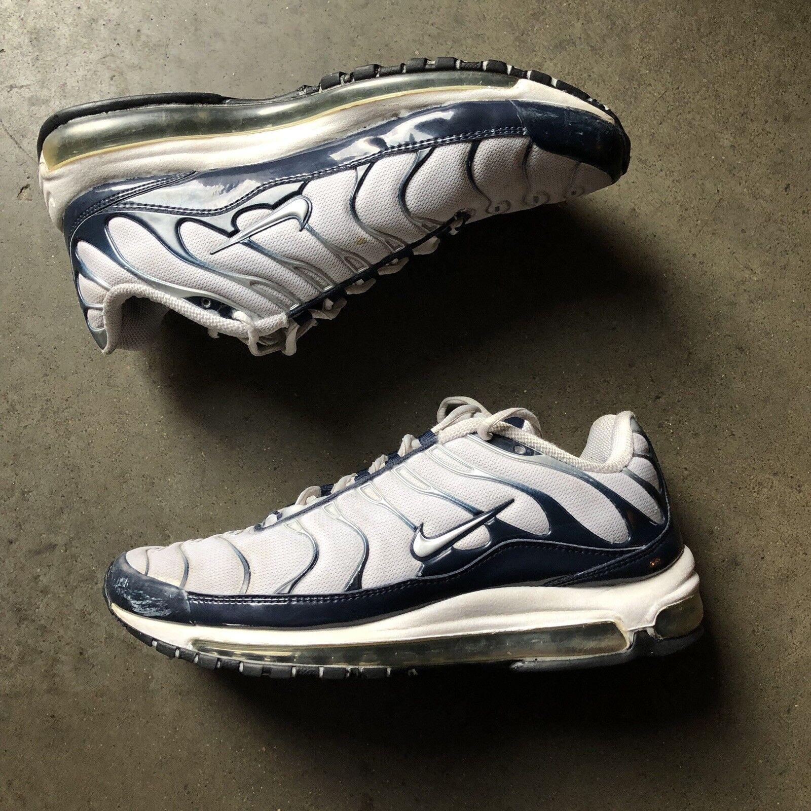 Men's 2008 Nike Air Air Air Max MX Plus 97 White Metallic Silver Midnight Navy bluee Sz 9 76d6ba