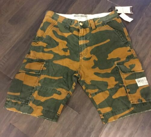 Akoo Brand Men's Shorts Pants New Size 34 Camo Golden War Cargo