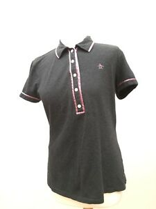 PENGUIN-Polo-Shirt-Medium-M-Slim-Fit-Grey-T-Shirt-Collar-Designer-Ladies