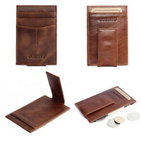 Brown Leather Men's Wallet Slim Magic Money Clip Business ID Credit Card Holder
