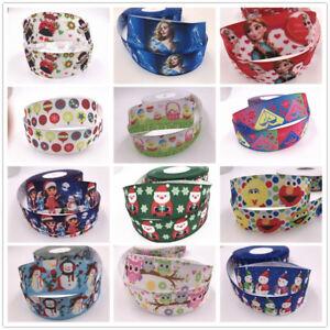 Wholesale-5-yds-1-039-039-25mm-printed-grosgrain-Christmas-ribbon-Hair-bow-sewing