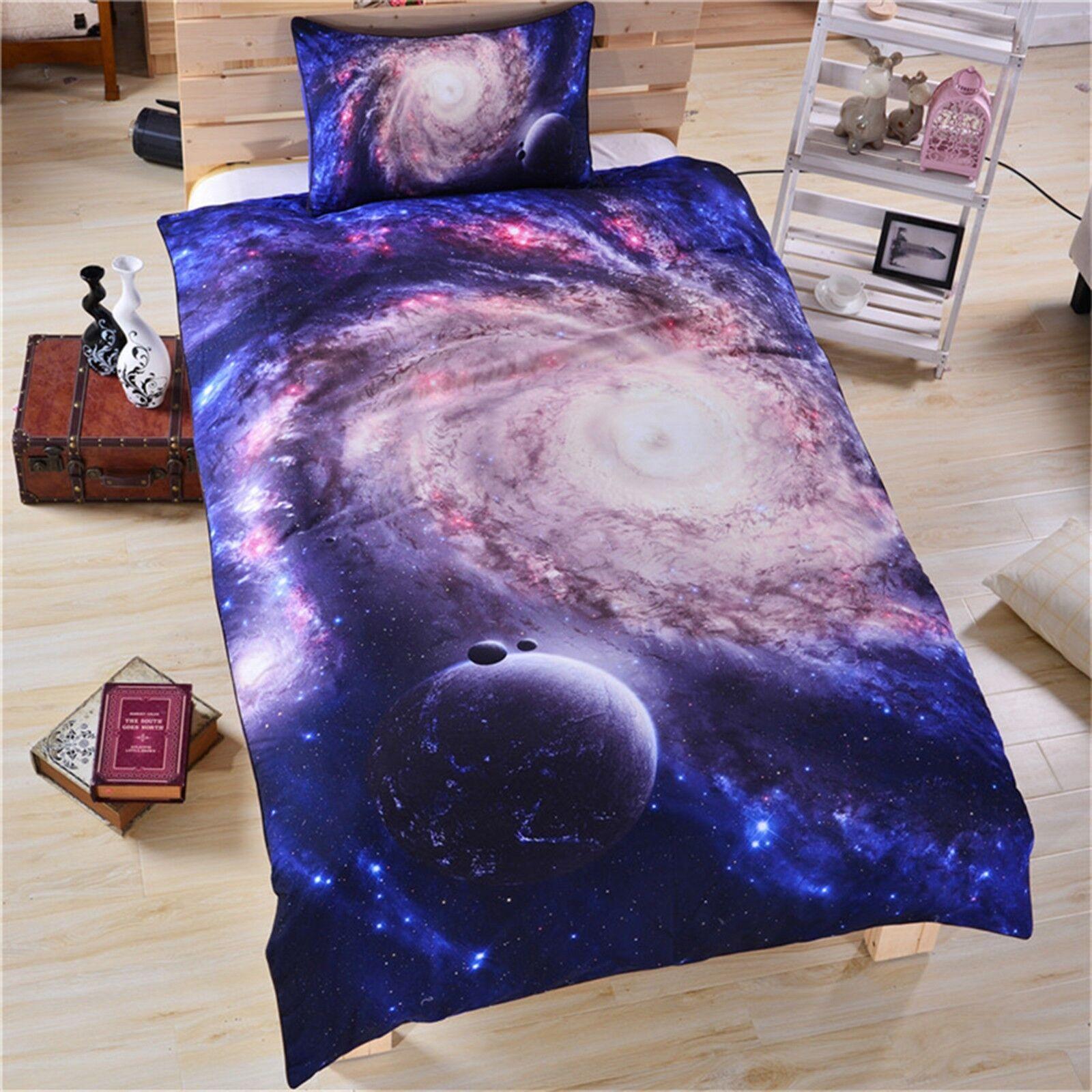 3D Interstellar Planets 4 Bed Pillowcases Quilt Duvet Cover Set Single Queen CA