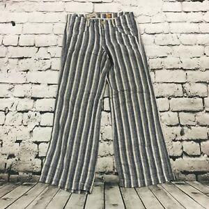 Anthropologie Pilcro Para Mujer Pantalones Anchos De Lino Mezcla Rayas Verticales Azul Talla 8 Ebay