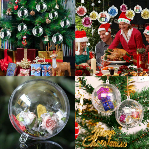 100x8cm Plastic Clear Ball Empty Baubles Christmas Party Hanging Ornament Gift