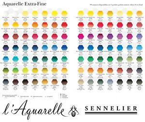 98-Farbtoene-SENNELIER-l-Aquarelle-Extra-Feine-Kuenstler-Aquarellfarbe-einzeln