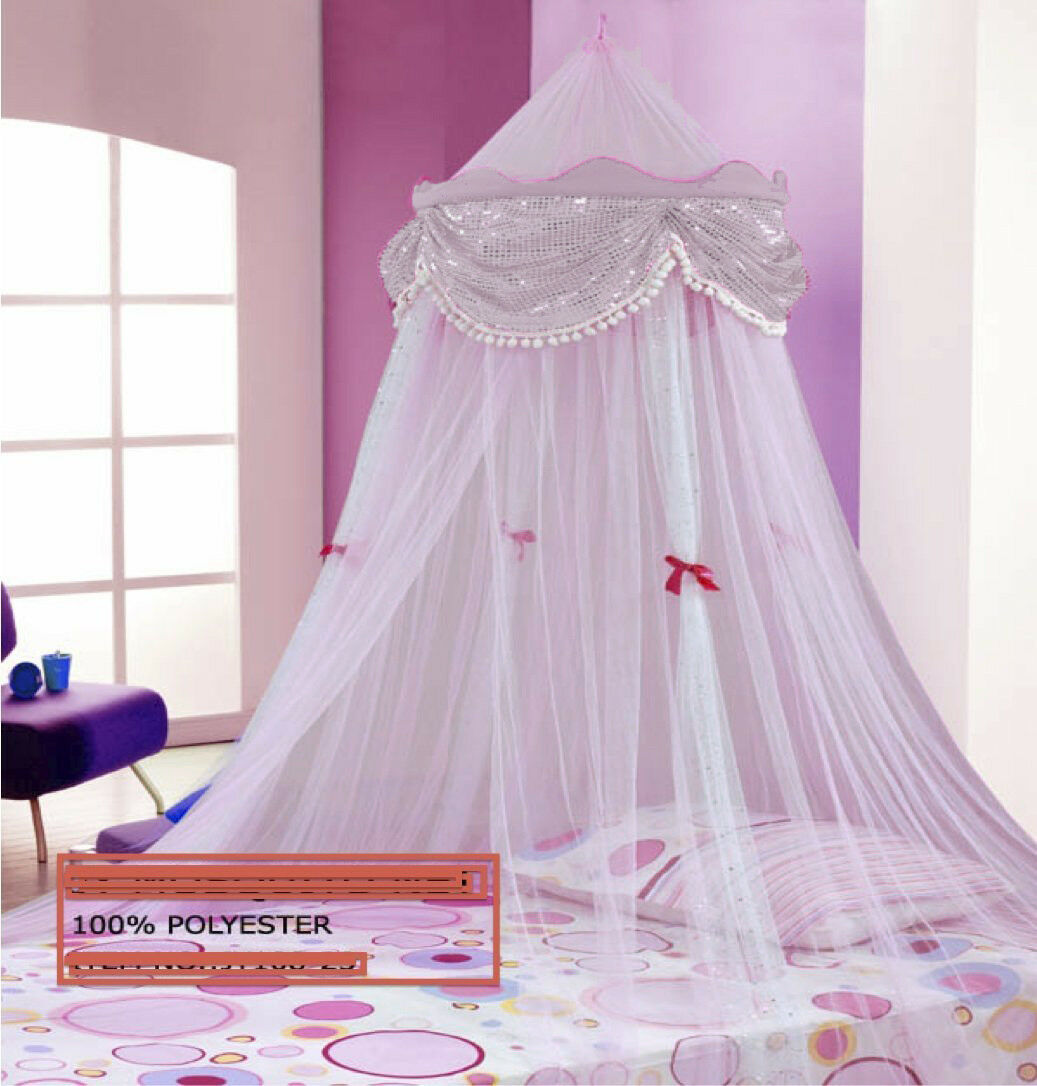- PERFECT PRINCESS BED CANOPY MOSQUITO NET WHITE With Sequins FREE