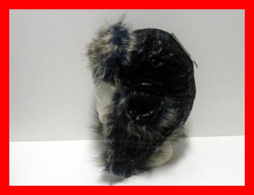 Unisex Faux Fur Self Check Padded Trapper Hat Cap Warm Winter in Black