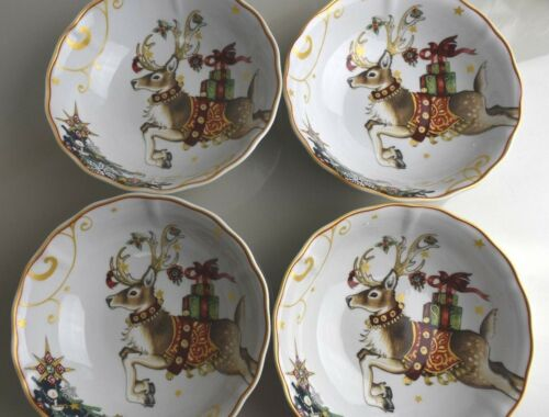 New TWAS THE NIGHT BEFORE CHRISTMAS  Williams Sonoma REINDEER BOWL S  Set of 4