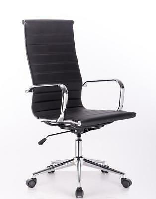 Tall back #3005 Modern Eames Executive Office Black PU leather chair