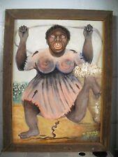 ANTIQUE/VINTAGE Original W.WALKER FRAMED BLACK FOLK ART OIL PAINTING SIGNED!!!