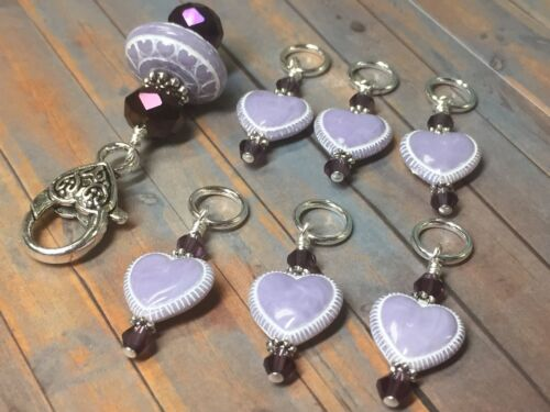 Lavender Hearts Stitch Markers /& Matching Clip Holder Snag Free Knitting Tools