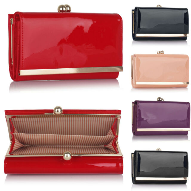 3d28b4fbe49 Trifold Patent Leather Bobble Clasp Women Purse Designer Ladies Girl Wallet  UK