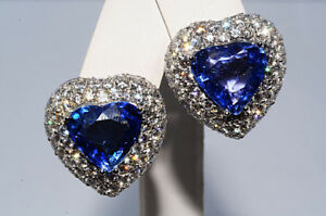 58-000-15-03Ct-Natural-Sapphire-amp-Diamond-Heart-Cluster-Earrings-18K-WG