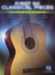 50 Premiers Classique Pieces Vous Devez Jouer Sur Guitare Musique Livre Bach Sor Tarrega-afficher Le Titre D'origine