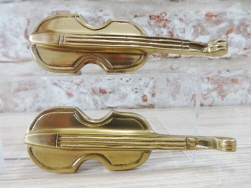 2 Vintage Laiton violon contrebasse Tiroir Placard Armoire Poignées Double Base