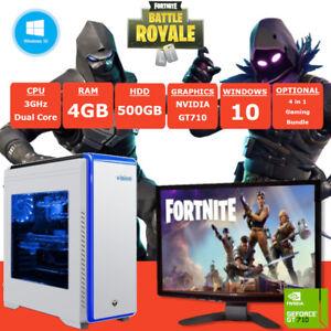 Dettagli su Veloce Dual Core fortnite Gaming PC + MONITOR 4GB RAM 500GB HDD  Windows 10- mostra il titolo originale