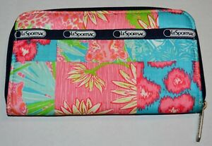 LESPORTSAC-Black-Pink-Blue-Cyan-Green-Floral-Zipped-Wallet-Card-Holder-Polyester