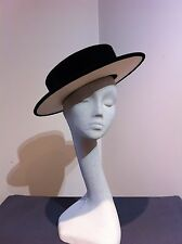 Vintage CHANEL Ladies Hat Black Velvet/White Silk 1980s Unworn in Original Box