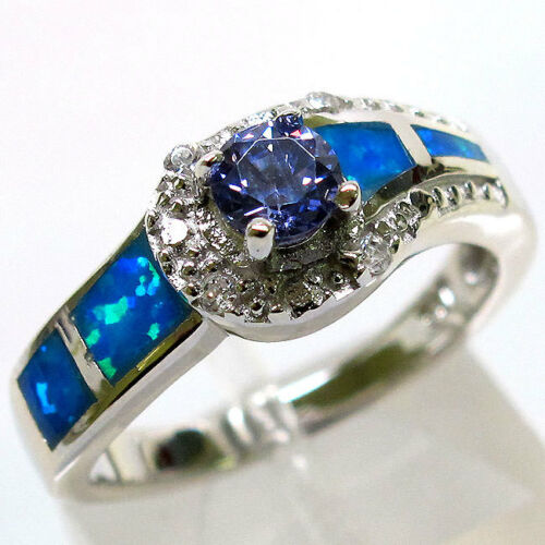 Inhabituel Tanzanite Blue Opal 925 Sterling Silver Ring Taille 7
