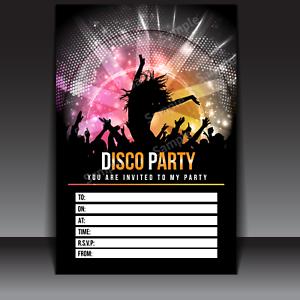 20 X Disco Party Invitations Invites Kids Child Adult Girls Boys